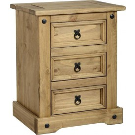 Corona 3 Drawer Bedside
