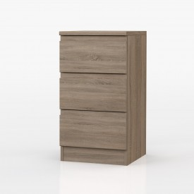Avenue Truffle Oak 3 Drawer Bedside