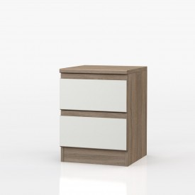 Avenue Truffle Oak And White Gloss 2 Drawer Bedside