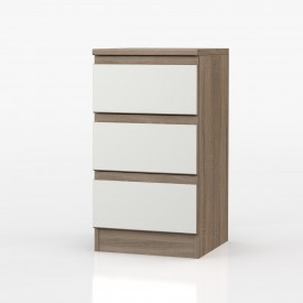 Avenue Truffle Oak And White Gloss 3 Drawer Bedside