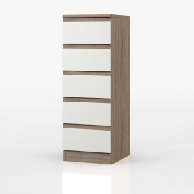 Avenue Truffle Oak And White Gloss 5 Drawer Chest