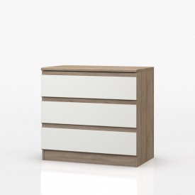 Avenue Truffle Oak And White Gloss 3 Drawer Chest