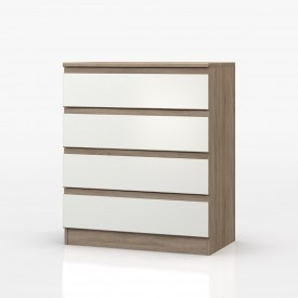 Avenue Truffle Oak And White Gloss 4 Drawer Chest