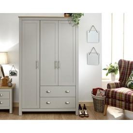 Lancashire Grey 3 Door 2 Drawer Wardrobe