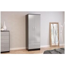 Links Black/High Gloss Grey 2 Door 2 Drawer Robe