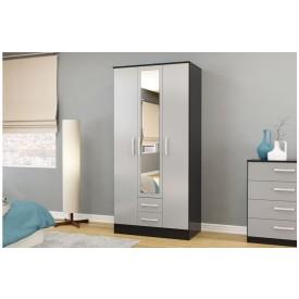 Links Black/ Grey 3 Door 2 Drawer Wardrobe