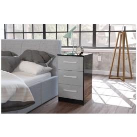 Links Black/ High Gloss Grey 3 Drawer Bedside