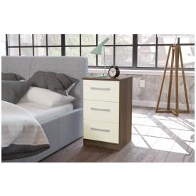 Links Walnut/ High Gloss Cream 3 Drawer Bedside