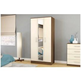 Links Walnut/ High Gloss Cream 3 Door Mirror Wardrobe