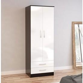 Links Black/High Gloss White 2 Door 2 Drawer Robe