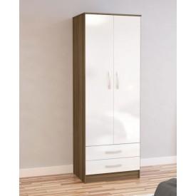Links Walnut And High Gloss White 2 Door 2 Drawer Wardrobe