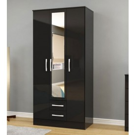 Links High Gloss Black 3 Door 2 Drawer Wardrobe