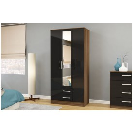 Links Walnut/ Black 3 Door 2 Drawer Wardrobe