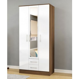 Links Walnut And High Gloss White 3 Door 2 Drawer Wardrobe