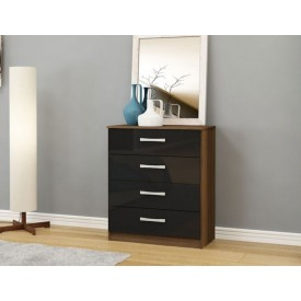 Links Walnut/ High Gloss Black 4 Drawer Chest