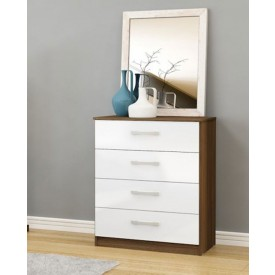 Links Walnut And White High Gloss 4 Drawer Chest