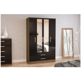 Links Walnut/ Black High Gloss 4 Door 2 Drawer Robe