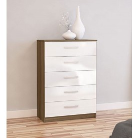 Links Walnut And High Gloss White 5 Drawer Chest