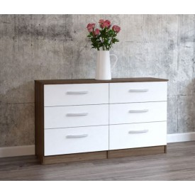 Links Walnut And High Gloss White 6 Drawer Chest
