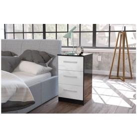 Links Black/ High Gloss White 3 Drawer Bedside
