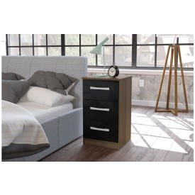 Links Walnut/ High Gloss Black 3 Drawer Bedside
