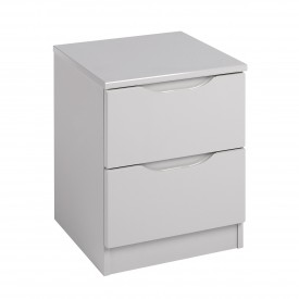 Cashmere Grey High Gloss 2 Drawer Bedside Chest
