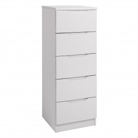 Cashmere Grey High Gloss 5 Drawer Tallboy