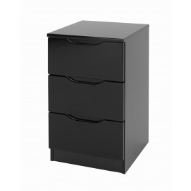 Orient Black Gloss 3 Drawer Bedside
