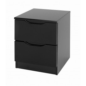 Orient Black Gloss 2 Drawer Bedside