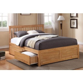 Petra Oak Double Bed Frame With 2 Drawers
