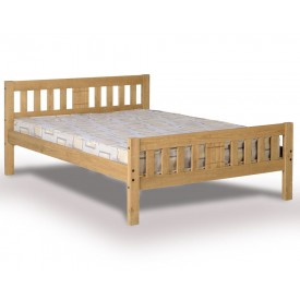 ria antique waxed pine double bed frame - Double Bed Frames