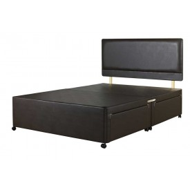 Superior Kingsize Divan Bed Base Brown Faux Leather