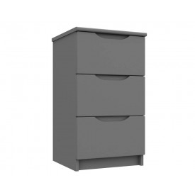 Dust Grey High Gloss 3 Drawer Bedside