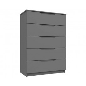 Dust Grey High Gloss 5 Drawer Chest