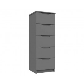 Dust Grey High Gloss 5 Drawer Tallboy