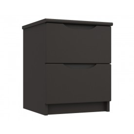 Graphite Grey High Gloss 2 Drawer Bedside Chest