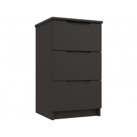 Graphite Grey High Gloss 3 Drawer Bedside