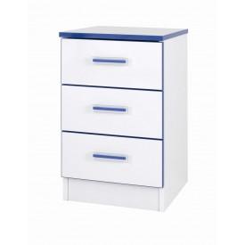 Teen Mode Blue 3 Drawer Bedside