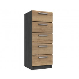 Waterford Graphite And Oak 5 Drawer Tallboy