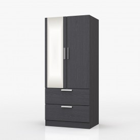 Waterfall Graphite 2 Door Combi Robe With Mirror