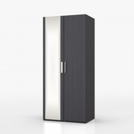 Waterfall Graphite 2 Door Wardrobe With Mirror