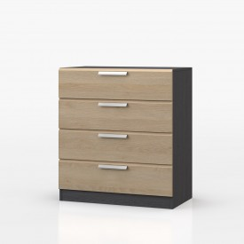 Waterfall Graphite And Oak 4 Drawer Chest