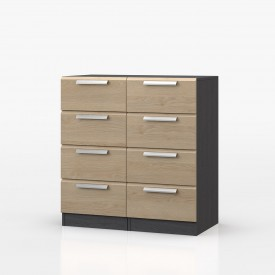 Waterfall Graphite And Oak 8 Drawer Narrow Chest