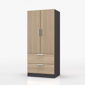 Waterfall Graphite And Oak 2 Door 2 Drawer Wardrobe