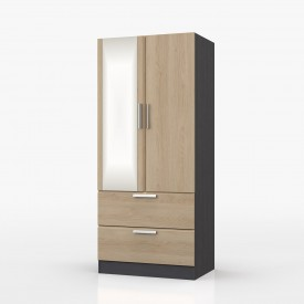 Waterfall Graphite And Oak 2 Door 2 Drawer Wardrobe With Mirror