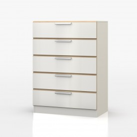 Waterfall Oak And White 5 Drawer Chest
