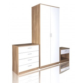 White With Oak High Gloss Trio