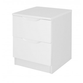 Alpine White Gloss 2 Drawer Bedside