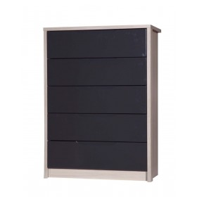 Avola Champagne With Grey Gloss 5 Drawer Wide Chest