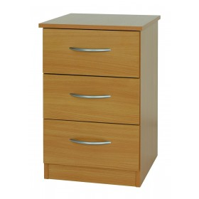 Beech Mode 3 Drawer Bedside